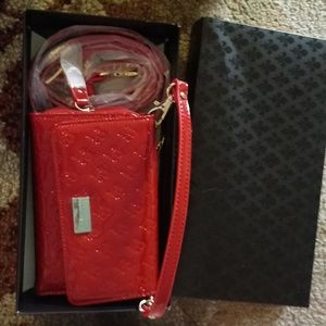 659ce471e0a8 Patrick Cox red mini clutch with strap